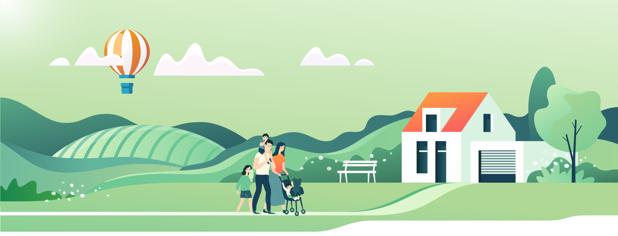 Illustrated scene of family walking to their home.