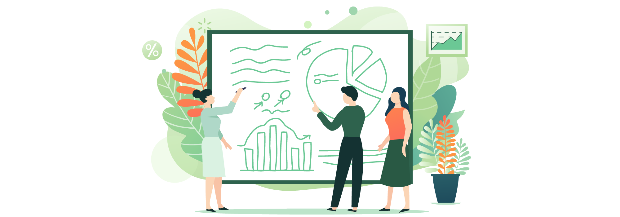Illustrated image of people standing around a whiteboard - planning